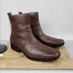Rockport Toloni Leather Ankle Zip Square Toe Boots